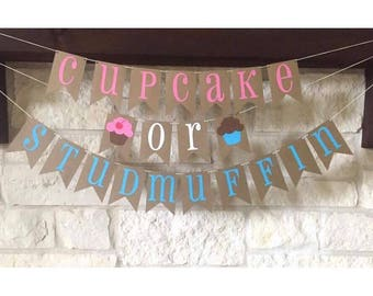 Gender Reveal Banner - Gender Reveal Decor - Cupcake or Stud Muffin Banner - Cupcake or Studmuffin Banner - Cupcake or Stud Muffin Decor