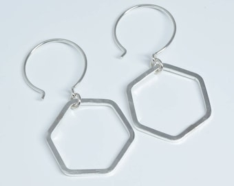 HONEYCOMB SILVER EARRINGS, sterling silver hexagon earrings small earrings modern dainty earrings
