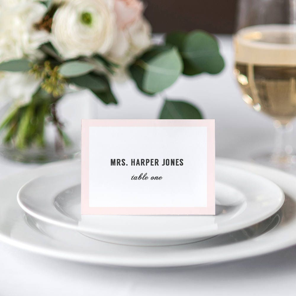 Modern Wedding table name place cards with or without border