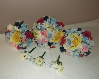 Pre Made Pink/Yellow/Blue/Ivory Wedding Bouquets