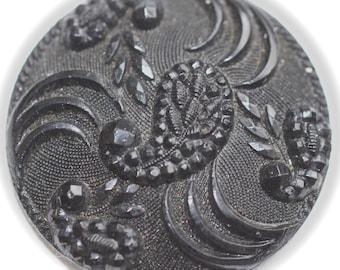 Button - Black Glass - Medium