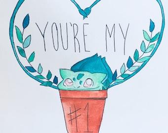 you're my #1 bulbasaur Pokemon valentines day