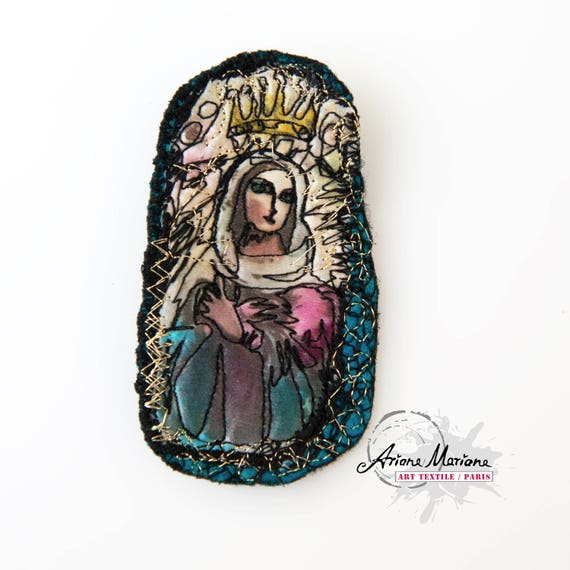 Funky Mini Art Textile Pin - OOAK Brooch with Madonna - WearableArt Accessories made in Paris -Sustainable art to pin