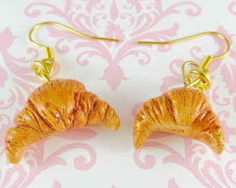 French Croissant Earrings Polymer Clay Cute Kawaii Food Charm Jewelry