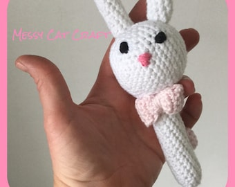 Baby bunny rattle toy