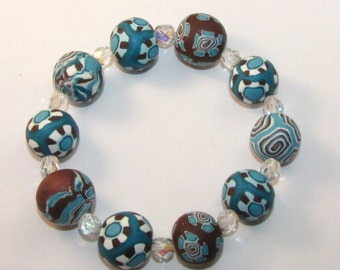 Chocolate Brown and Blue Chunky Beaded Stretch Bracelet - Stackable Jewelry for Women Gift for Mom Teacher Wife Girlfriend Anniversary