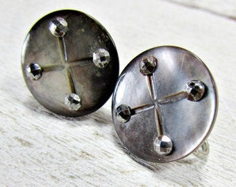 Antique Victorian Earrings, Cut Steel Earrings, Mother of Pearl Button Earrings, Screw-back Earring, Edwardian Jewelry, Gift for Grandma Mom