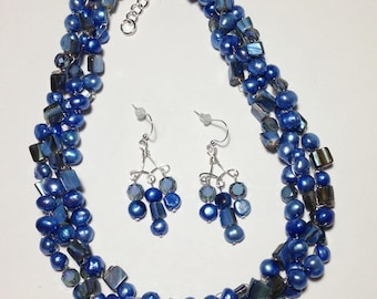 Blue, Ocean Blue, Mother of Pearl Shell, Cultured Freshwater Pearl, Glass, Wire Crochet, Non-Tarnish Silver Plated Wire, Necklace, Earrings