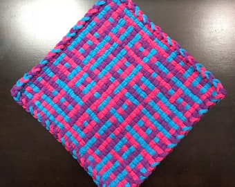 Handmade Large Woven Potholder in TPP Party