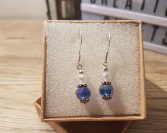 Sterling Silver Blue Crystal Drop Earrings