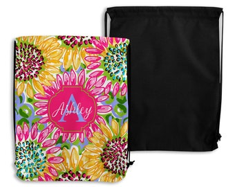 Preppy Sunflower Personalized Drawstring Backpack - Drawstring Bag