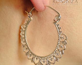 Silver Earrings - Silver Hoops - Gypsy Earrings - Tribal Earrings - Ethnic Earrings - Indian Earrings - Ttibal Hoops - Indian Hoops (ES121)