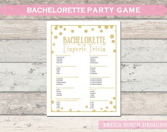 Bachelorette Lingerie Trivia Game - Hen Night - Lingerie Shower - Bridal Shower - Bachelorette Games - Printable - Instant Download