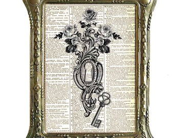 SKELETON KEY art print wall decor Victorian Edwardian Door Lock with vintage Roses on upcycled dictionary book page black white 8x10, 5x7
