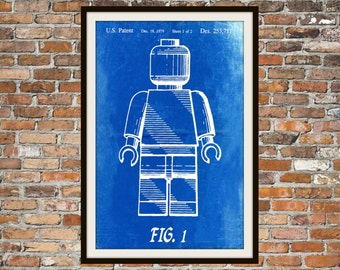 Lego Patent - Blueprint Art of a Lego Figurine Man Person No.2 Technical Drawings Engineering Drawings Patent Blue Print Art Item 0075