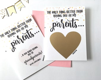 Pregnancy Reveal to Parents Scratch Off Card - Pregnancy Announcement  - Grandparents - only thing better than having you as my - CONFETTI