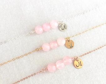 Customized Rose Quartz Bracelet, Bridesmaid Bracelet, Flower Girl, Natural Gemstone, Sterling Silver, Gold Bracelet, Rose Gold