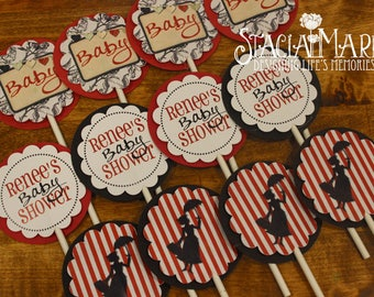 Mary Poppins Baby Shower Cupcake Toppers