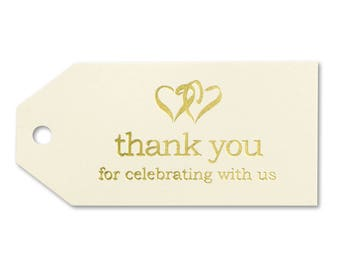 25pk Ivory and Gold Linked Hearts Thank You Tags Bridal Shower Wedding Favors