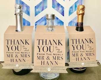 Thank you, Newly Mr & Mrs, Wine Cards, Thank you Card, Alcohol, Wedding Favour,