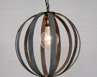 "Zinc band sphere pendant with 5"" bulb and  FREE SHIPPING chandelier round dining light kitchen light banding industrial rustic"
