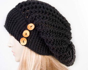 Slouchy beanie hat ,  oversized beanie hat winter knit hat for woman in black -COLOR OPTION AVAILABLE