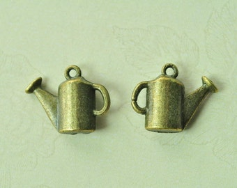 15pcs Antique Bronze 3D Watering Can Sprinkling Can Charms 16x13mm MM946