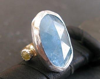 Aquamarine Ring Aquamarine Statement Ring Cocktail Ring Yellow Diamond Ring Unique Engagement Ring Blue Gemstone Statement Ring Size 6 Ring