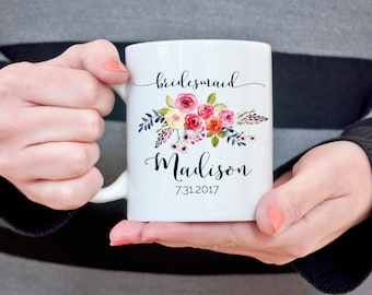 Bridesmaid Coffee Mug Custom Bridesmaid Coffee Cup Personalized Bridesmaid Gift Bridal Party Gift Wedding Coffee Mug Gift for Bridesmaids