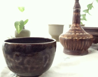 Handcrafted Glazed Mini Planter//Studio Pottery Bowl // Kitchen Decor