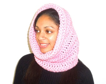 Crochet Neckwarmer, Cowl, Hooded Scarf, Circle Scarf, Eternity, Pink, Hooded Scarf,