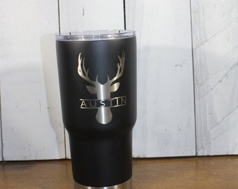 RTIC 20 oz/30 oz Tumbler/Personalized/Double Wall Stainless Steel/Black/Buck/Deer/Hunter/Monogram/Christmas Gift/Fast Shipping/Father's Day