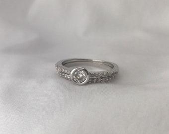 silver minimalist wedding set