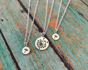 Mother Daughter Necklace Set, Mommy and Me Jewelry, Dandelion Wish Necklaces, Mothers Day Gift, New Mom Gift, Sterling Silver Necklaces