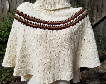 Hand Knit Cape / Large Cowl / Shrug / Poncho, Cream / Brown / Red / Gold, Large Size, Loose Turtleneck, Merino Wool and Alpaca Blend Yarn