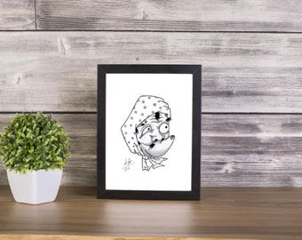 Hyottoko handmade Drawing, Digital Print, Art Print, Made in pencil, charcoal and ink, japanese art