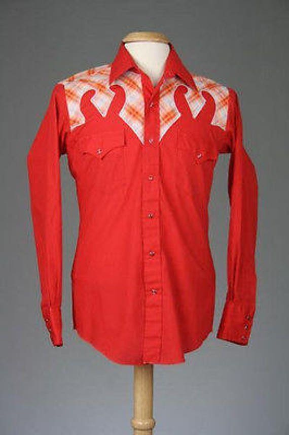 ON SALE Vintage 70s Red Rockabilly 100% Cotton Western Pearl Snap Shirt 16-33 M 81V1rUQ