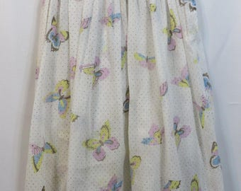 Vintage 40s Skirt Novelty Cotton Girls Hand Made Swing Rockabilly Butterflies Butterfly Sheer AS IS