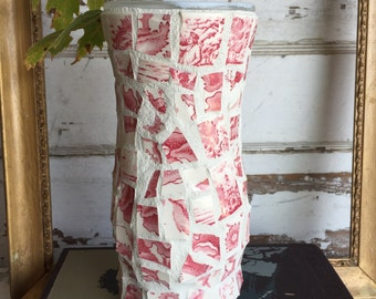 Broken China Mosaic Vase - Red and White Transferware