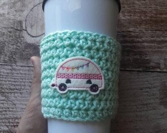 Camper coffee sleeve, camper cup cozy, crochet cup cozy, crochet camper cup cozy, camping gift, gift under ten, reusable cup sleeve, rv gift