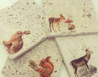 Hand made woodland creature natural stone coasters, Gifts for her