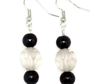 Black and Clear Round Beaded Earrings