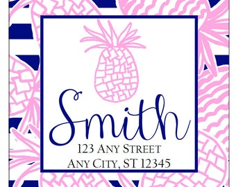 Preppy Pineapple Stripe Tropical Labels Stickers for Party Favors, Gift Tags, Address Labels