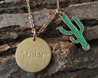 Explore Handstamped Brass Pendant Necklace