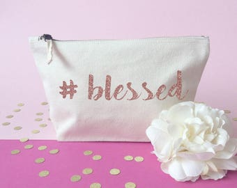 Hashtag makeup bag- Cosmetic bag- Unique gift- Toiletry bag- large cosmetic bag- Inspirational quote- Personalised cosmetic bag-Quote bag