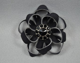 Black Flower Brooch, Zipper Brooch, Black Brooch, Black Pin, Zipper Pin, Zipper Art, Flower Pin, Upcycled, Recycled, Repurposed