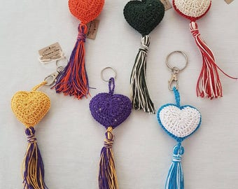 Amigurumi Hearts - Wedding accessories, Keychain, pendent, home decoration, different colors