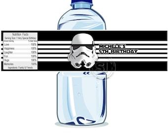 Custom Star Wars Printable Water Bottle Labels-Personalized Storm Trooper Water Bottle Label- DIY (You Print)