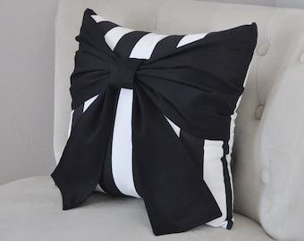 Throw Pillow Black Bow on Black and White Stripe Pillow 14x14 -Black and White Stripe Pillow-