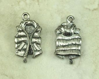 Down Vest Charm > Parka Winter Chilly Snow Skiing Slopes Hiking Camping - American Made Lead Free Pewter Silver I ship internationally